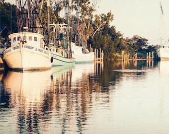 Art, Photography, Nature Photography, Boats, Savannah, Soft Teal, Turquoise, Sepia, Cream, Nautical Print, 5x5 & Larger Print