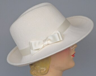 Winter White Felt Fedora, Fur Felt  Womens Hat,