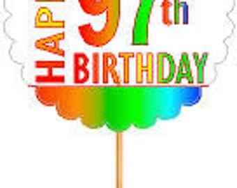 Happy 97th Birthday Rainbow Cupcake Decoration Topper Picks -12pk