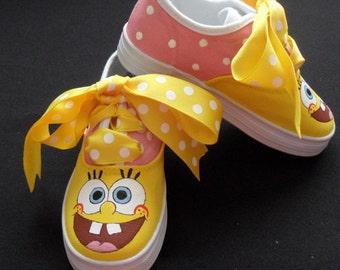 Sponge Bob Hand Painted Children's Shoes