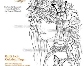 Promise of Spring Fairy Tangles Printable Adult Coloring Book Sheets Pages by Norma J Burnell Fairies to color Adult Coloring for Grownups