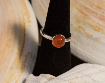 Modern Silver Ring  – Natural Carnelian Stone Silver Ring – Orange Stone Ring – Stack Stone Rings – Orange Stones – Sterling Silver