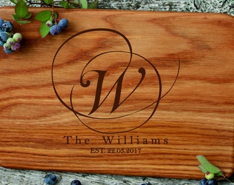 Engraved  cutting board/Custom MONOGRAM cutting board/cutting board as wedding gift/cutting board anniversary gift/housewarming gift for