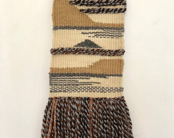 Handwoven wall hanging - beige and gray