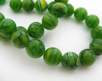 Medium Green Round Millefiori Beads - CG242