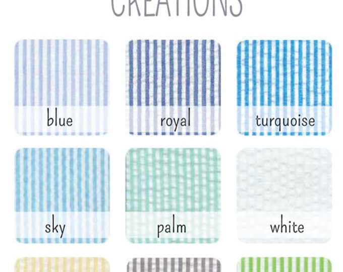 Choose ONE Seersucker Cotton Fabric Swatch - Bowties, Neckties, Suspenders Custom Wedding Orders - Swatch Only