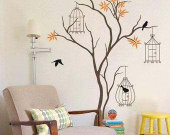 "Baby Nursery Tree Wall Decal Tree Wall Sticker Mural Birdcage Tree Wall Art Wall Decor - Large: approx 86"" x 51"" - KC011"