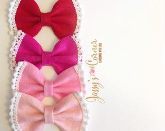 Valentine Felt Hairbow | Valentine Felt Hairclip | Valentine Felt Headband | Valentine Felt Bow | Valentine Felt Clip | Valentine Clip
