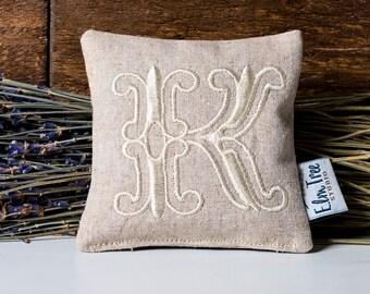 Monogrammed Linen Lavender Pillow