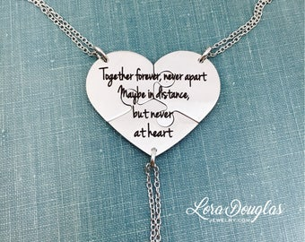 3 Piece Necklace Set, Together Forever Never Apart, Best Friends, Sisters, Across the Miles, Necklace Set, Broken Heart Necklace, Heart