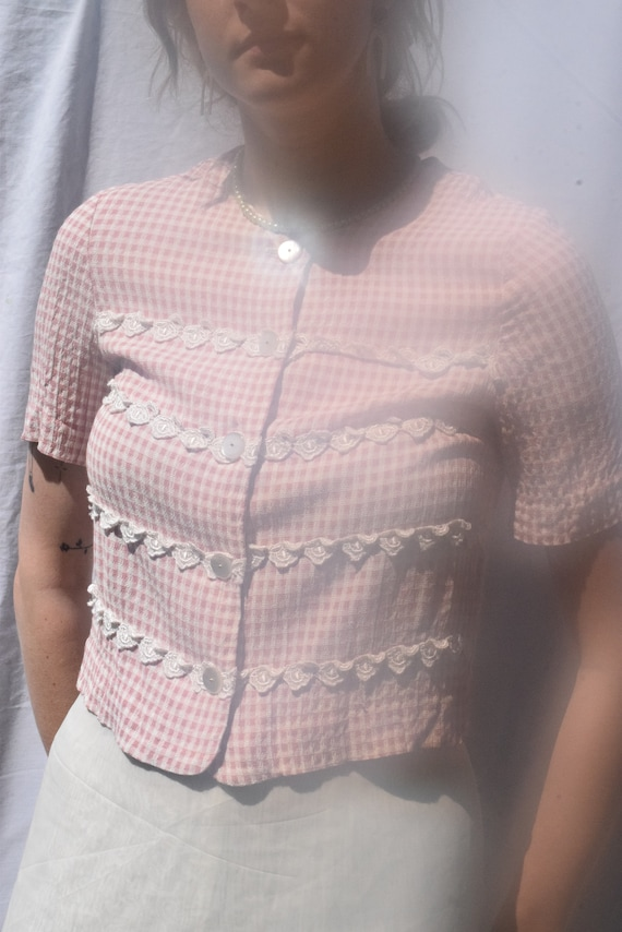 Lady Carol Petites Pink and White Gingham Blouse