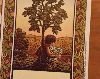Vintage Antioch Book Plates - The Tree In The Wood (North-South)  -  Christopher Manson 1993 - Set of 4 Bookplates