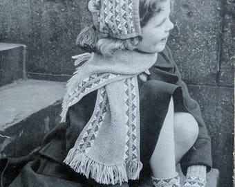 Vintage Lee Target Knitting Pattern Girl's Gloves, Socks,Bonnet and Scarf
