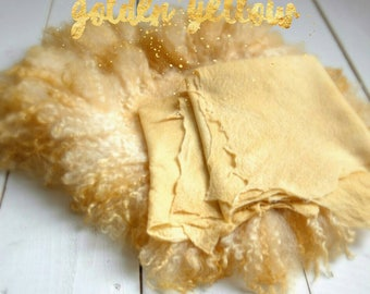 Golden Yellow Christmas set , Curly Round Felted Blanket Newborn Photography Props Wool Stuffer