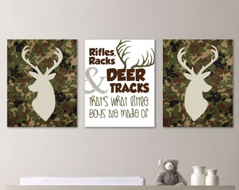 Camo Deer Head Print Trio. Baby Boy Nursery Art Prints. Boy Bedroom Art Prints. Deer Nursery. Camo Deer Bedroom Art. Camo Nursery. (NS-234)