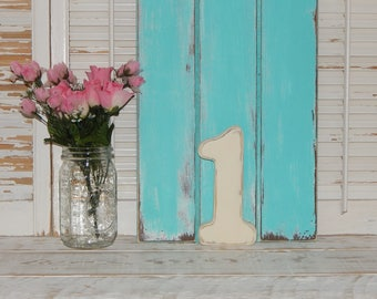 """Wooden Number 1  Birthday Photo Prop Distressed Shabby Country Chic 8"""" Wood Numbers Any Number"""