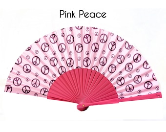 HAND FAN | hippie style | peace signs on a pink background | 70s | unique gift for her | womens fashion | Free Shipping Worldwide