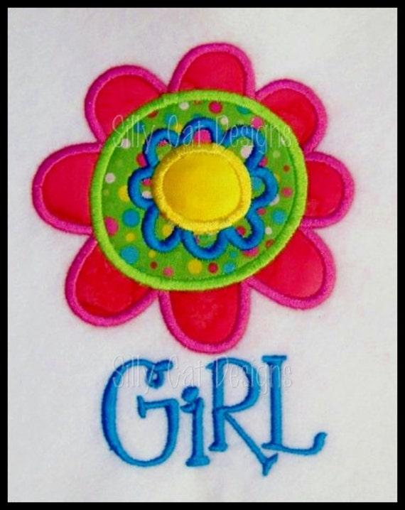 Flower Girl Applique Machine Embroidery Design