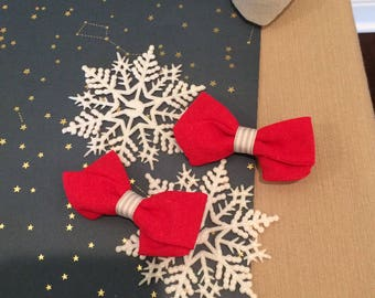Red bow, valentines bow linen bow, hair bow