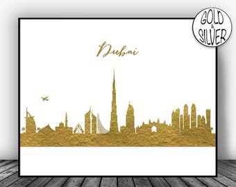 Dubai Skyline Dubai UAE Dubai Print Dubai Poster Dubai Art Print Dubai Cityscape City Skyline Office Art Print Office Wall Art Gold Decor