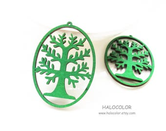 Dyeing Series - 4 Pcs 34 x  55mm Variety of Colors Filigree Oval Shape With Tree Wood Dangle/ Wooden Charm/Pendant NM621