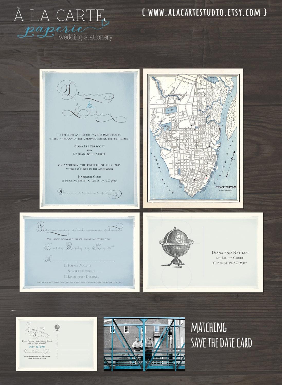 Vintage Globe Wedding Invitation and RSVP Card Elegant