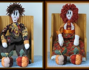 "2 in 1 ""Lili The Folk-Art Doll and Luther The Folk-Art Doll"" Folk-Art Girl and Boy Dolls Combo E-Pattern"