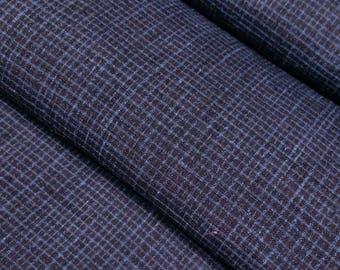 Vintage, Black and blue, Japanese tsumugi, pongee, kimono silk - 41 inches ( 104 cm)