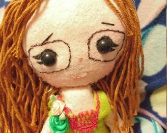 Textile Handmade art Felt plush fabric art doll