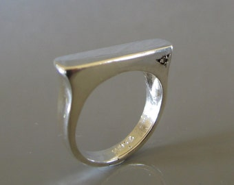 Flat top silver ring, Sterling silver diamond ring, Signet ring, Tiny diamond silver ring