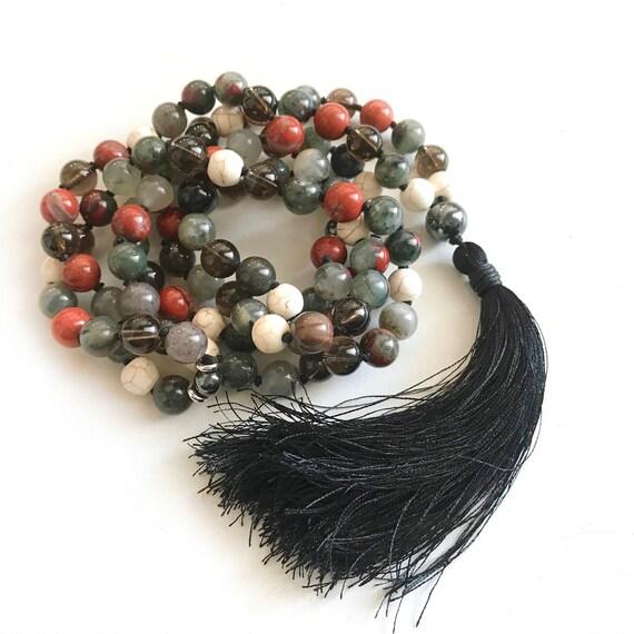 Men's Root Chakra Mala, Unisex Mala Bead Necklace, Ganesha Mala Beads, Bloodstone And Smoky Quartz Mala, Red Jasper And Hematite