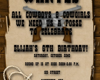 Cowboy Birthday Party Invitation - Boy, Girl, Western, Yee Haw