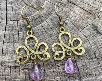 Amethyst Teardrops . Antiqued Brass Chandeliers . Earrings
