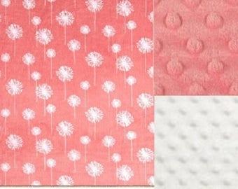 Baby Girl Minky Blanket/Coral and Ivory Flowers/ Stroller Blanket/Baby Shower Gift