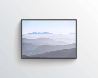 Dawn Mountain Fog Print, Mountains in Dawn Fog Print, Nature Photo Print, Misty Mountains Decor, Morning Mist Rolling Ridges Nature Dawn