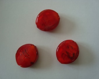 Set of 3 Red Lampwork beads