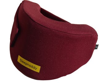 Sleepnoddy - Burgandy travel pillow. Unique design, perfect for long plane trips.