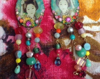 Lilygrace Teal Geisha Earrings with Serpentine Jade, Smokey Quartz, Carnelian, Rhinestones and Freshwater Pearls