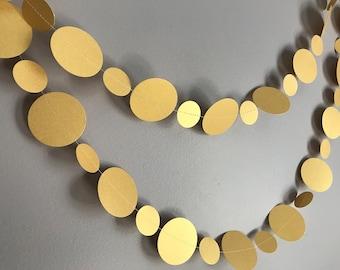 Metallic Gold Circle Garland - Gold Decor, Gold Garland, Gold Decorations, Gold Birthday Garland, Gold Wedding Garland