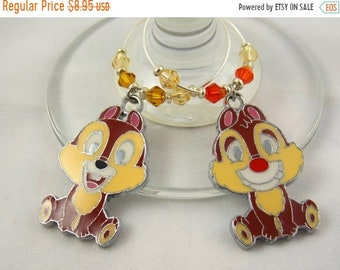 """Wine Charms Set of 2 Disney Inspired """"Chip and Dale"""" Handmade Swarovski Crystal His and Hers - Wedding Birthday Holiday Party"""