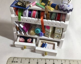 Dolls House Miniatures - 1/12th Sewing Shelf - White