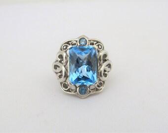 Vintage Sterling Silver Blue Topaz Filigree Ring Size 7