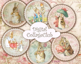 Peter Rabbit 1 inch and 2 inches Digital Collage Sheet Peter Rabbit Party Cupcake Toppers Bottle Caps Images for Bottlecap