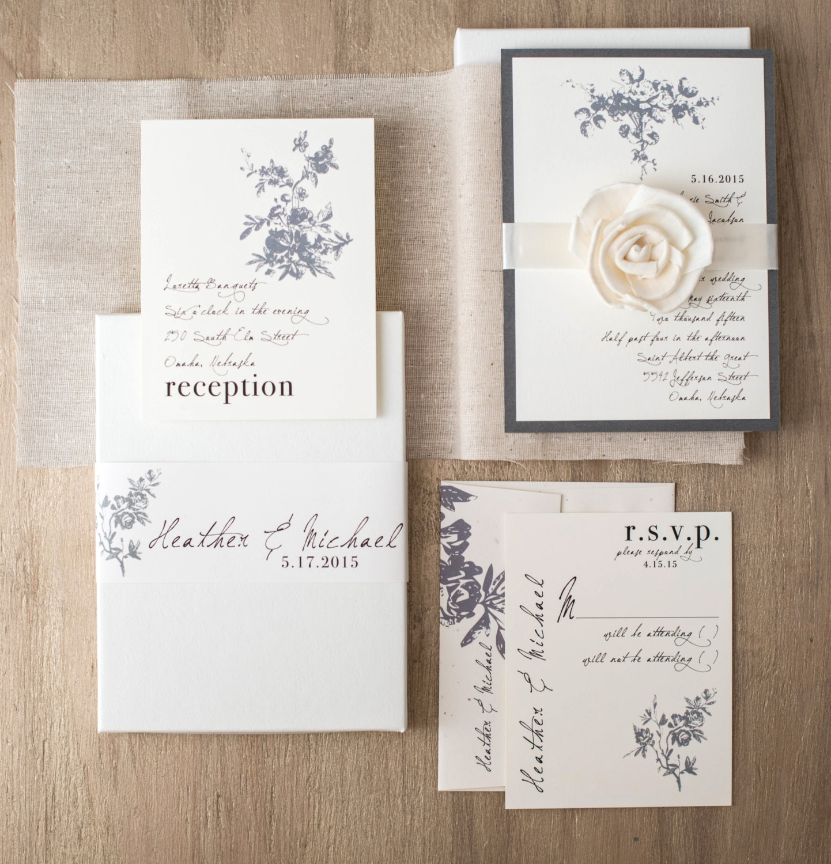 Box Wedding Invitations: Vintage Modern Boxed Wedding Invitations Ivory Linen Gray