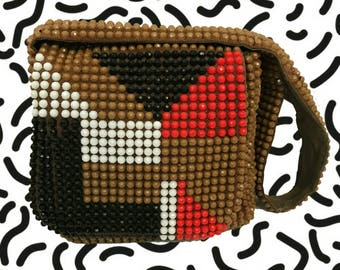 60's Beaded Abstract Purse - Sequin Brown Black Red White Shoulder Bag - Geometric Fashion Purse Cross Body Handbag - Vintage Retro Purse