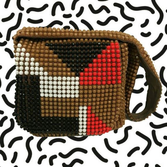 60's Beaded Abstract Purse - Sequin Brown Black Red White Shoulder Bag - Geometric Fashion Purse Cross Body Handbag - Vintage Retro Purse