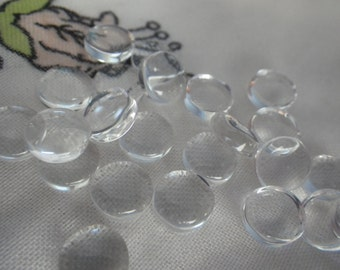Clear Glass 8mm Round Cabochons 24 Pcs