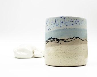 Handmade Wheel Thrown Ceramic Beaker, Plant Pot