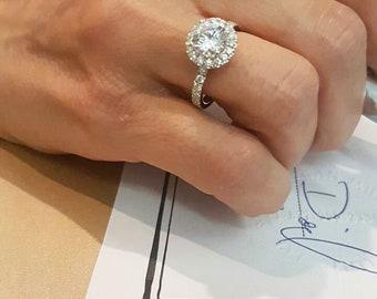 2.75 carat,Solid Platinum diamonds engagement ring, 1.50 carat center