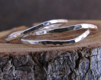 Skinny and wonky Hammered Silver Stack Rings Set of 3